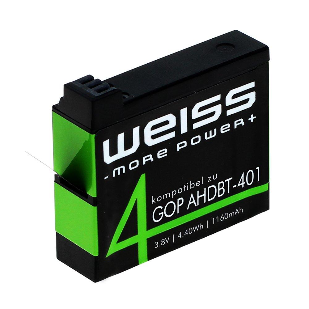 Weiss Batteria per GoPro Hero 4, nero, 8009141