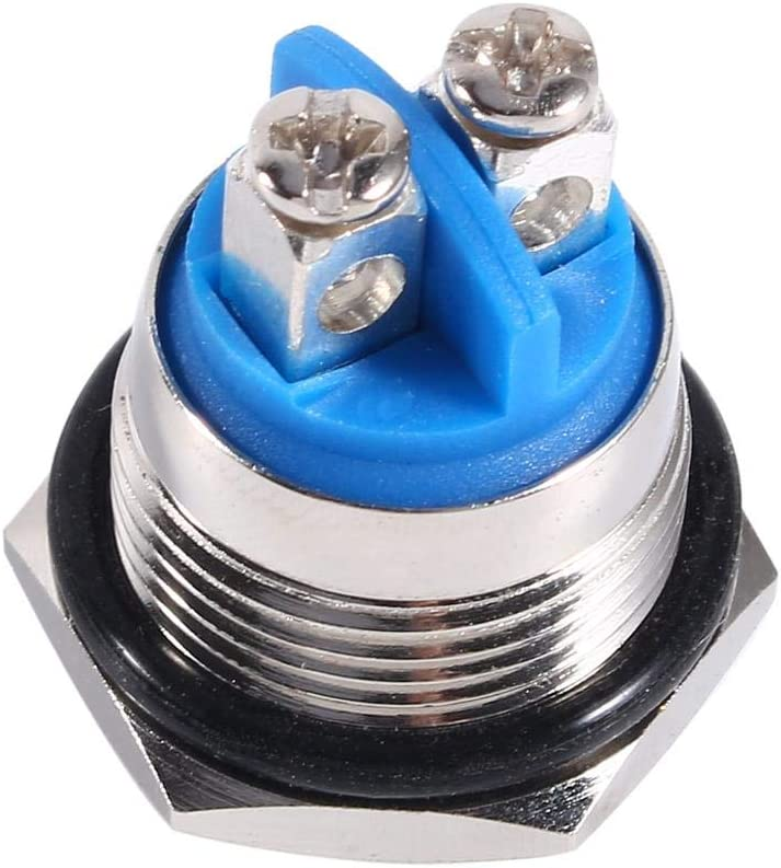 Gorgeri 12V 16mm Car Waterproof Momentary Metal Push Button ON OFF Horn Switch Silver