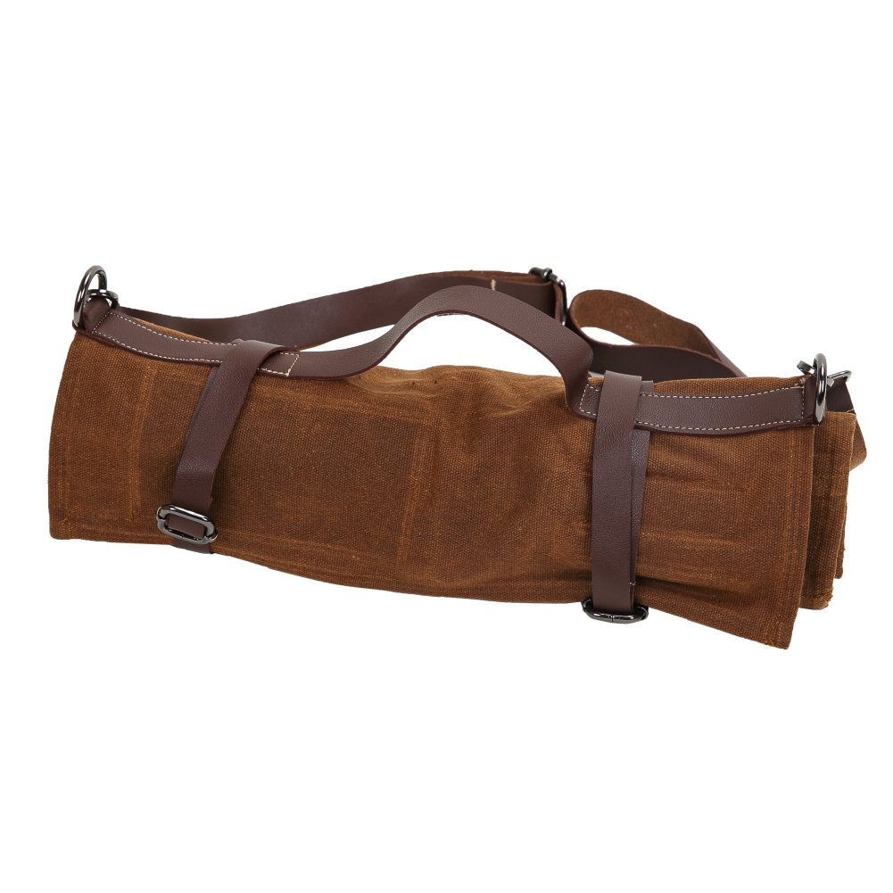 16 Oz Waxed Canvas Chef's Knife Roll Up Storage Bag Waterproof Multi Purpose Knife Tote Bag with 10 Slots 3 Kitchen Utensils & 1 Zipper Pocket - Easily Carried Handle & Adjustable Shoulder HGJ38 by Hersent (Image #5)