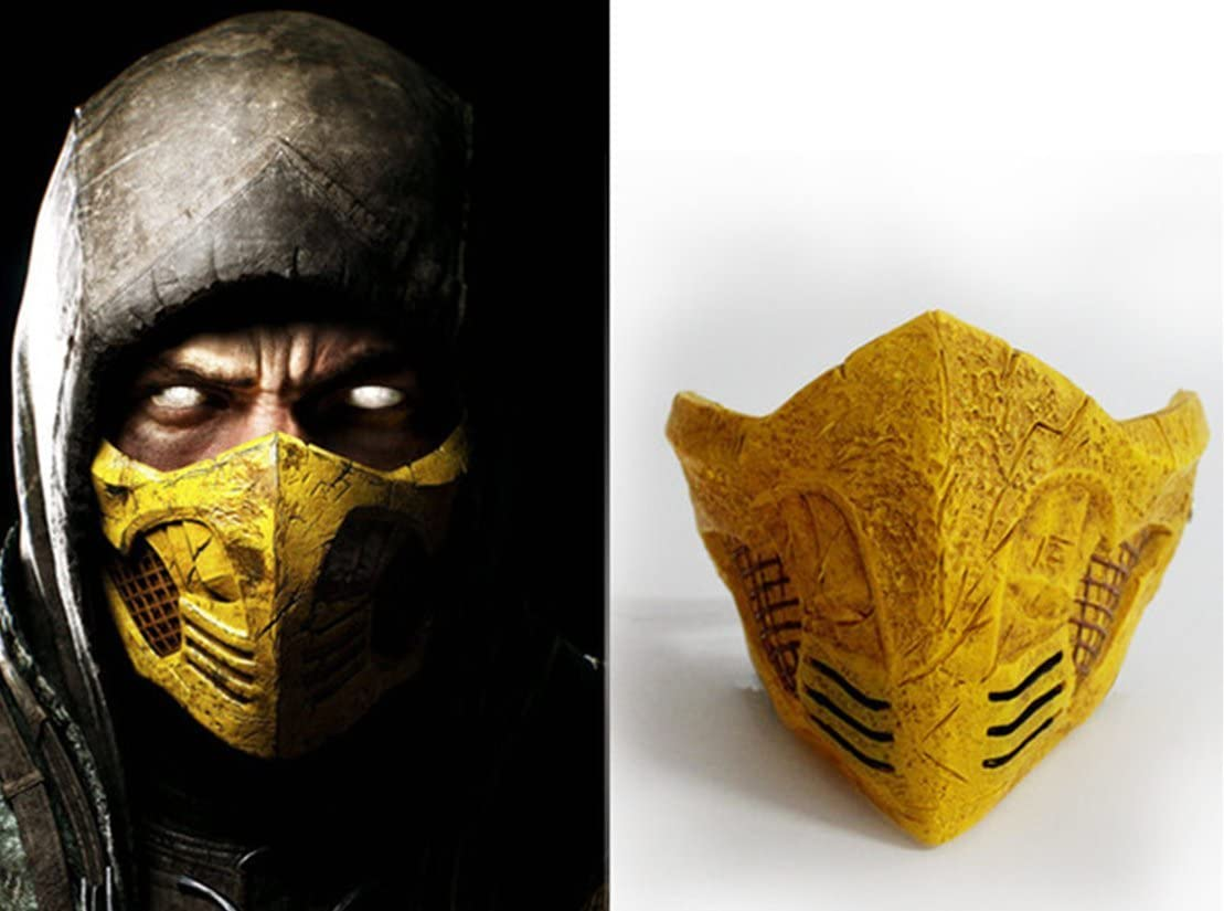 Mortal Kombat Scorpion Cosplay Cool Yellow Mask Amazon Co Uk Sports Outdoors