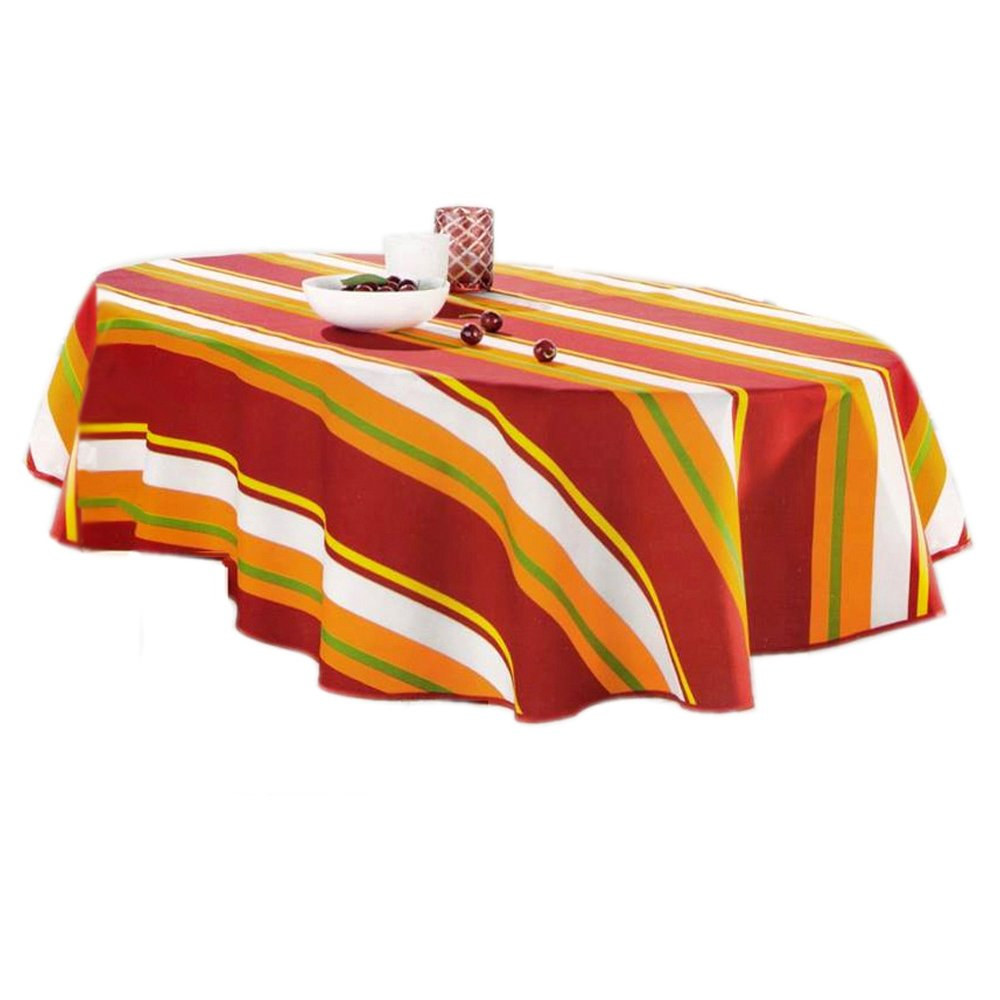 Livingtex Oval Shape Decorative Table Cloth Red Orange Checkered 50 x 70-Inch for Home Be it for Everyday Dinner Picnic or Occasions Like Thanksgiving Caf/és Restaurants TC-2
