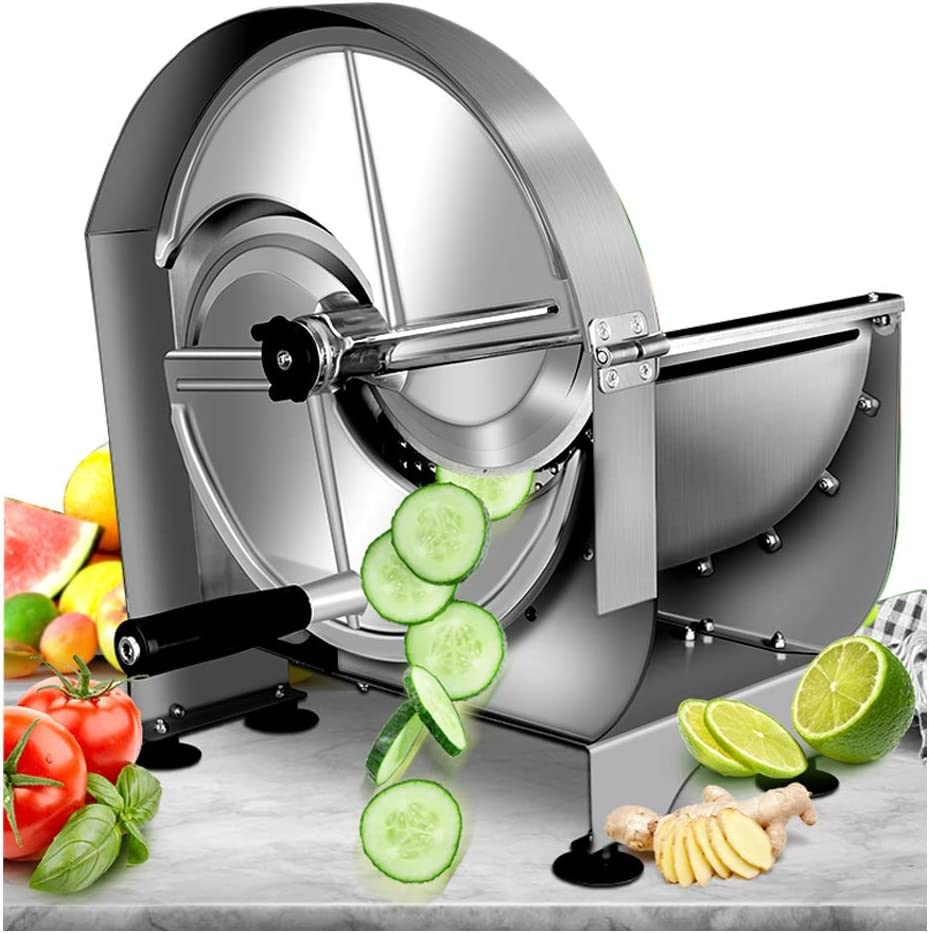 NEWTRY Commercial Vegetable Slicer Shredder Fruit Slicer 0-12mm (15/32inch) Thickness Adjustable Stainless Steel for Potato/Lemon/Ginger with 2 Spare Blades