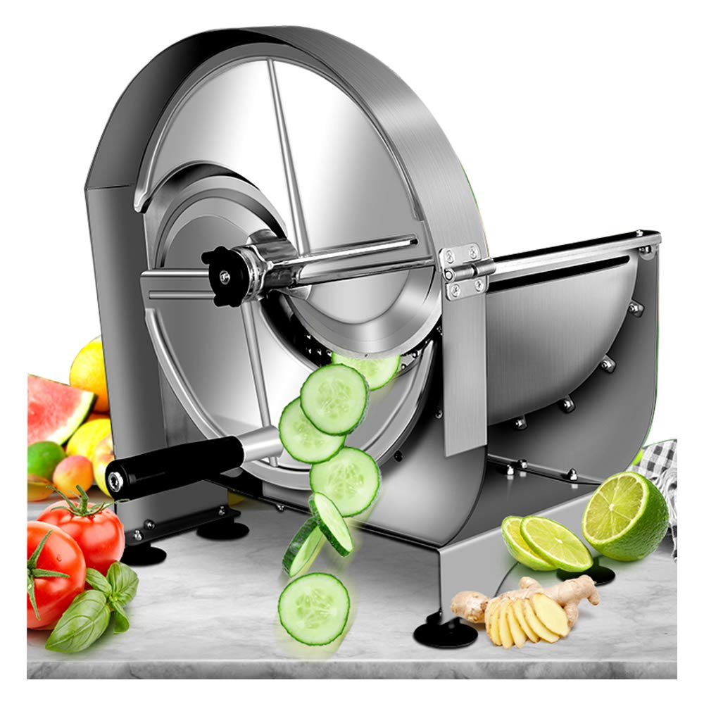 Buy NEWTRY Commercial Fruit and Vegetable Slicer Stainless Steel 0~12mm  Thickness Adjustable Manual Lemon Potato Cutting Machine Super Thin Slice  for Ginger (One machine + 2 spare blades) Online at Low Prices
