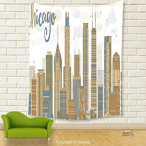 Vipsung House Decor Tapestry_Apartment Decor Collection Abstract Chicago Financial District Luxurious Monument Tower Scraper View Pattern Blue Peru Olive_Wall Hanging For Bedroom Living Room (Financial District Halloween)