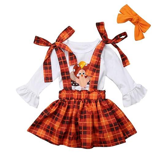 e1816c4533c32 Toddler Kids Girl Thanksgiving Outfits T-Shirt Tops+Plaid Suspender Skirt+Headband  Set