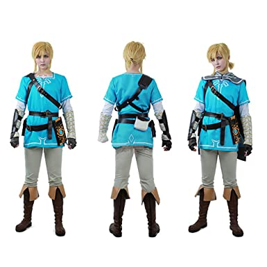 suchach mens zelda breath wild link cosplay costume set halloween outfit blue