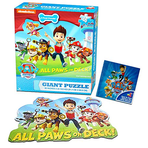 Paw Patrol Giant Floor Puzzle Set For Kids and Toddlers (3 Foot Puzzle, 46 Pieces, Bonus Stickers)