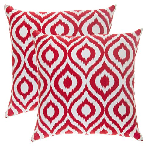 TreeWool, (Pack of 2) Ikat Ogee Accent Throw Pillow Covers in Cotton Canvas (16 x 16 Inches; Red & (16