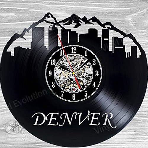 (Denver Colorado Vinyl Record Wall Clock - Decorate Your Home with Modern Art - Best Gift for Man, Woman, Boyfriend and Girlfriend)