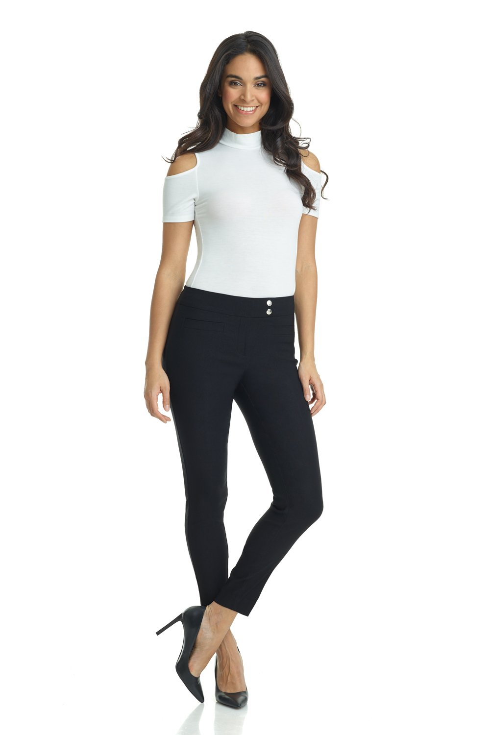 Rekucci Women's Ease in to Comfort Slim Ankle Pant with Snaps (8,Black)