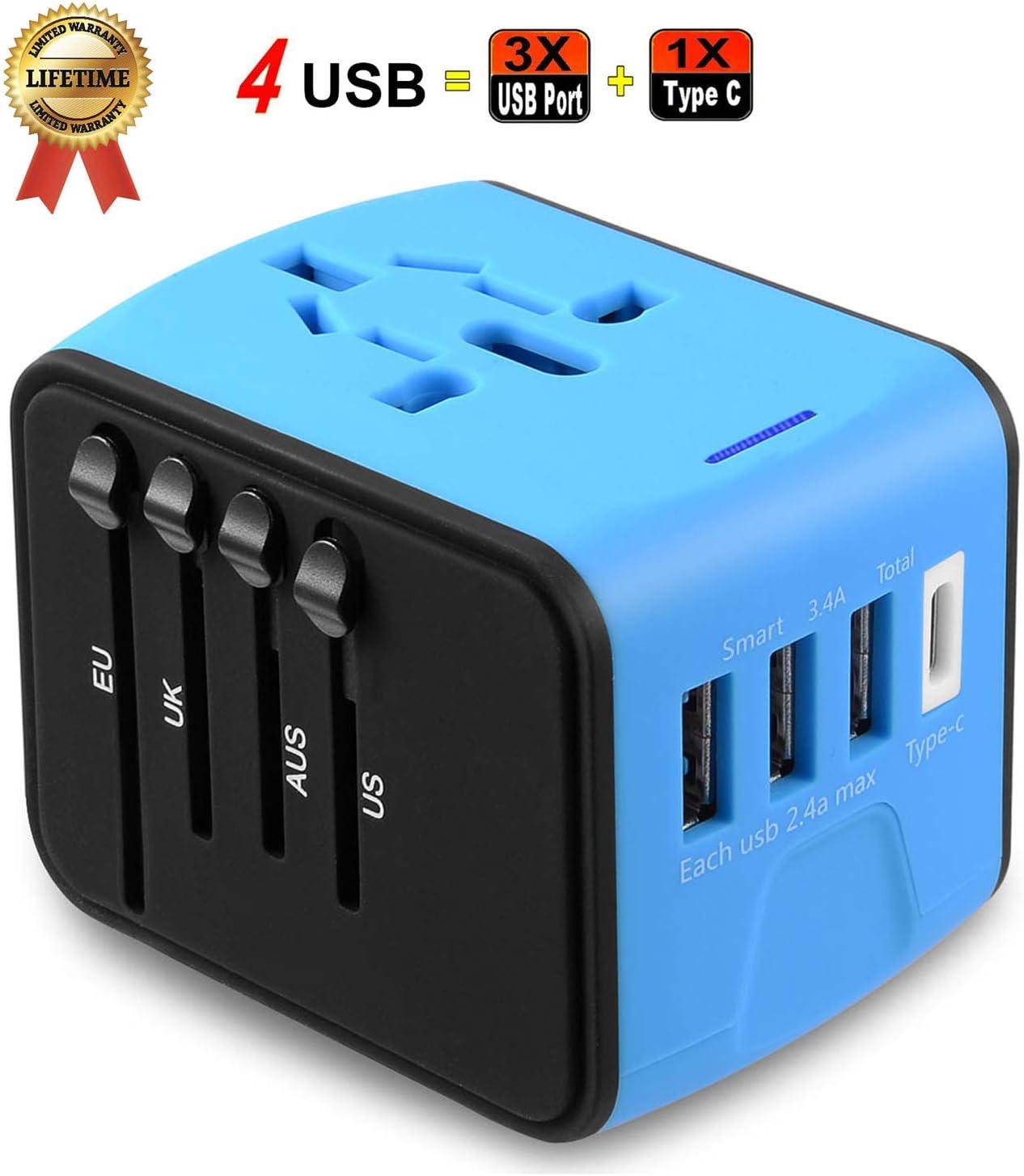 Universal Travel Adapter Converter Wall Charger 4 USB AC Power Plug US UK AU EU