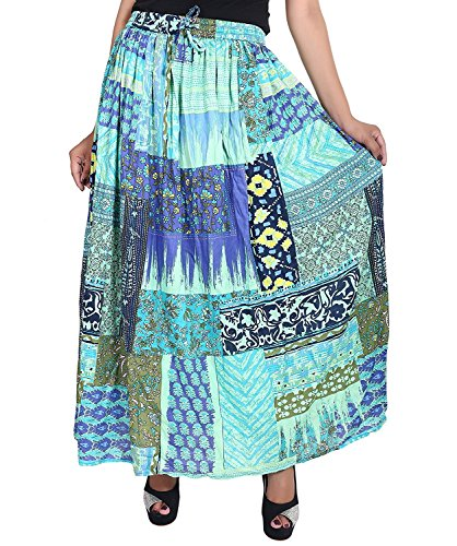 Cotton Breeze Women's Rayon Regular Fit Skirt (Multi-Coloured, Free Size)