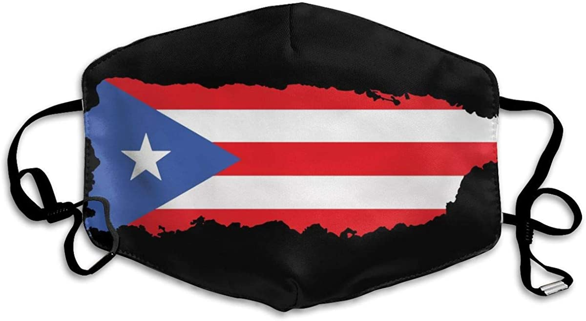 Comfortable Adjustable Puerto Rico Flag Map Black Printed Facial Decorations For Women And Men (a1)