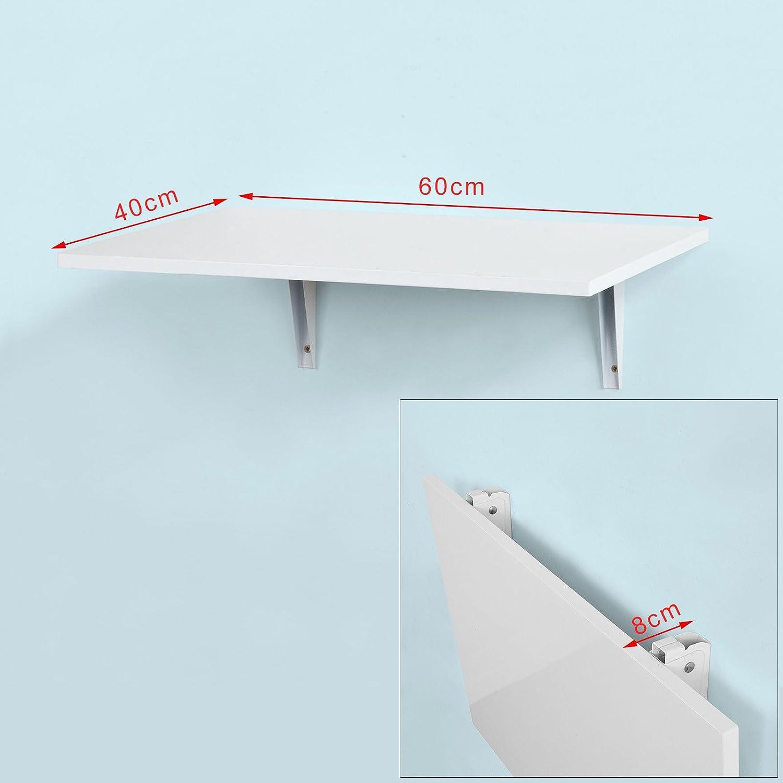 SoBuy® FWT21-W,Tavolo da muro pieghevole,due supporti in ferro ,60 ...