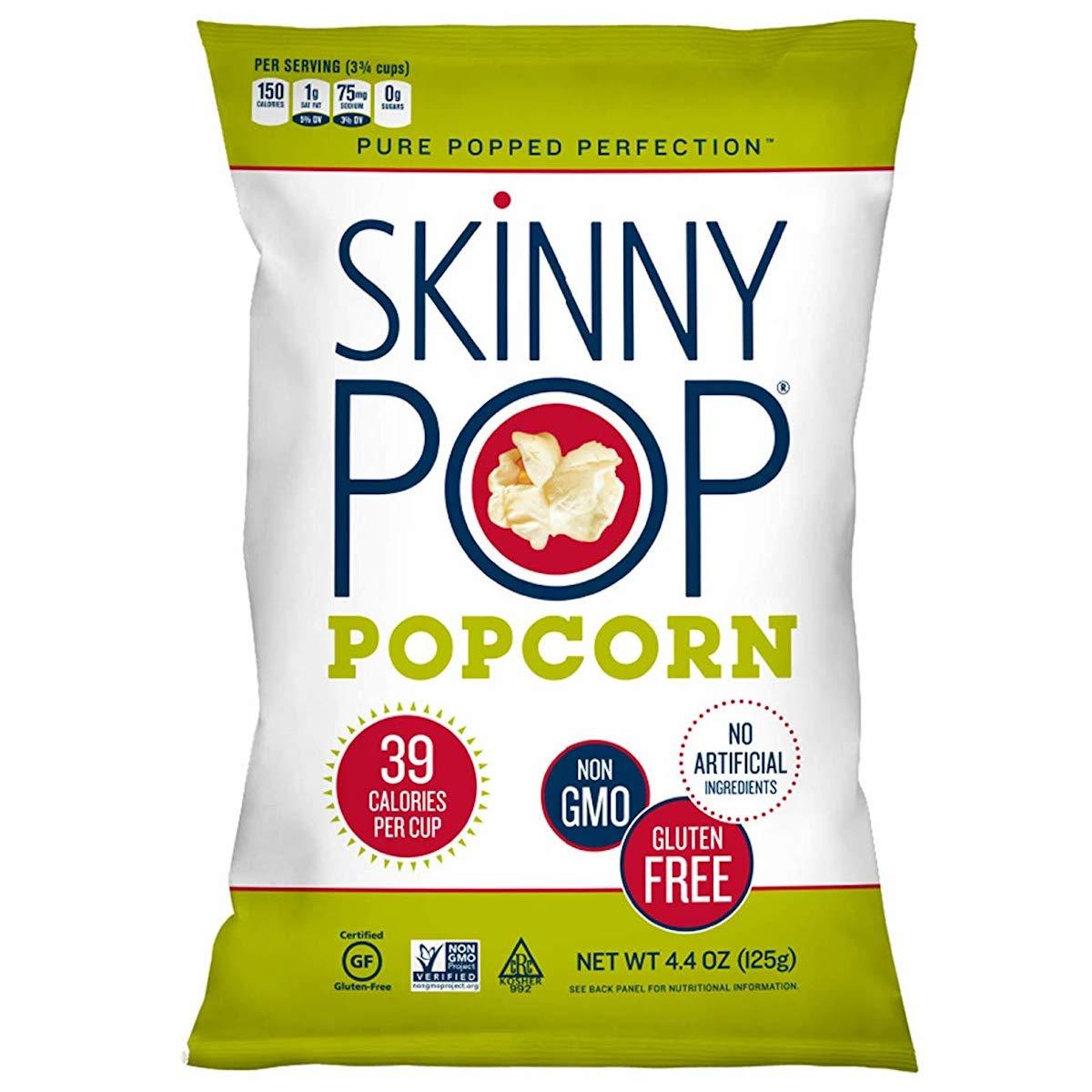 SkinnyPop Orignal Popcorn, 4.4oz Grocery Size Bags, Skinny Pop, Healthy Popcorn Snacks, Gluten Free