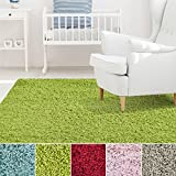 Cheap iCustomRug Affordable Shaggy Rug Dixie Cozy & Soft Kids Shag Area Rug Solid Color Lime Green, For Children's Play Area, Bedroom or Nursery Carpet 5 Feet x 7 Feet (5′ x 7′)