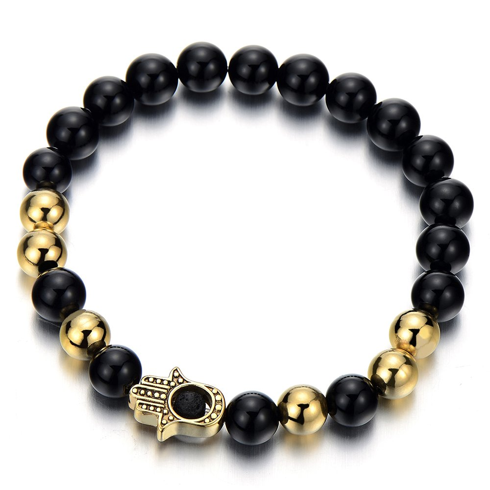 Steel Gold Hamsa Hand of Fatima Mens Womens Black Onyx Beads Bracelet, Protection Prayer Mala COOLSTEELANDBEYOND MB-810-CA