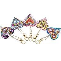 5pcs/set plein diamant bricolage peinture diamant amour coeur porte-clés porte-clés cadeau par WNZZ
