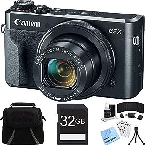 Canon PowerShot G7 X Mark II Digital Camera w/ Accessory Bundle includes Camera, Bag, 32GB SDHC Memory Card, Card Wallet + Reader, Mini Tripod, Screen Protectors, Cleaning Kit and Beach Camera Cloth