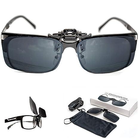 ElementsActive Gafas de sol polarizadas con función de volteo para hombre Grande Negro
