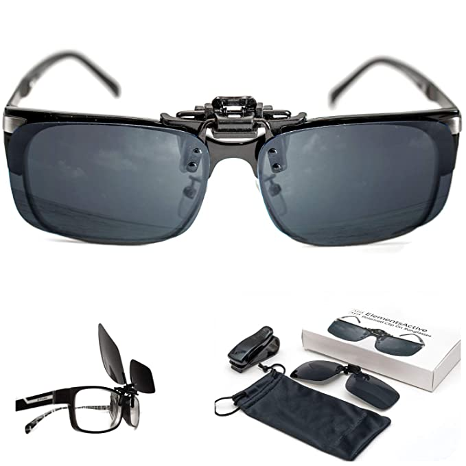 490e7de8df0 ElementsActive Men s Polarized Clip-on Driving Sunglasses with Flip Up  Function black  Amazon.co.uk  Clothing