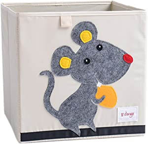 DODYMPS Foldable Animal Canvas Storage Toy Box/Bin/Cube/Chest/Basket/Organizer for Kids, 13 inch (Mouse)