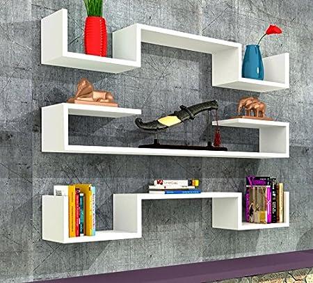 Homeidea Violetta 3 mensole per libreria, per il soggiorno, dal design  moderno