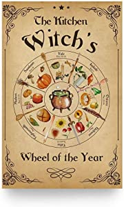 The Kitchen Witch's Wheel Year Halloween Metal Tin Poster Indoor & Outdoor Home Bar Coffee Kitchen Wall Decor Halloween Painting Metal Plate 8x12 inch