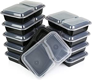 Reditainer Food Storage Containers with Lids (20, 2 Compartment Deep TP)