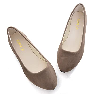Women's Classic Pointy Toe Slip On Solid Flats Shoes Cute Comfortable Ballet Shoes | Flats