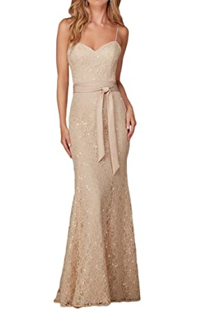 La Mariee Spaghetti Sweetheart Sheath/Mermaid Evening Party Dresses with Belt-2-Champagne