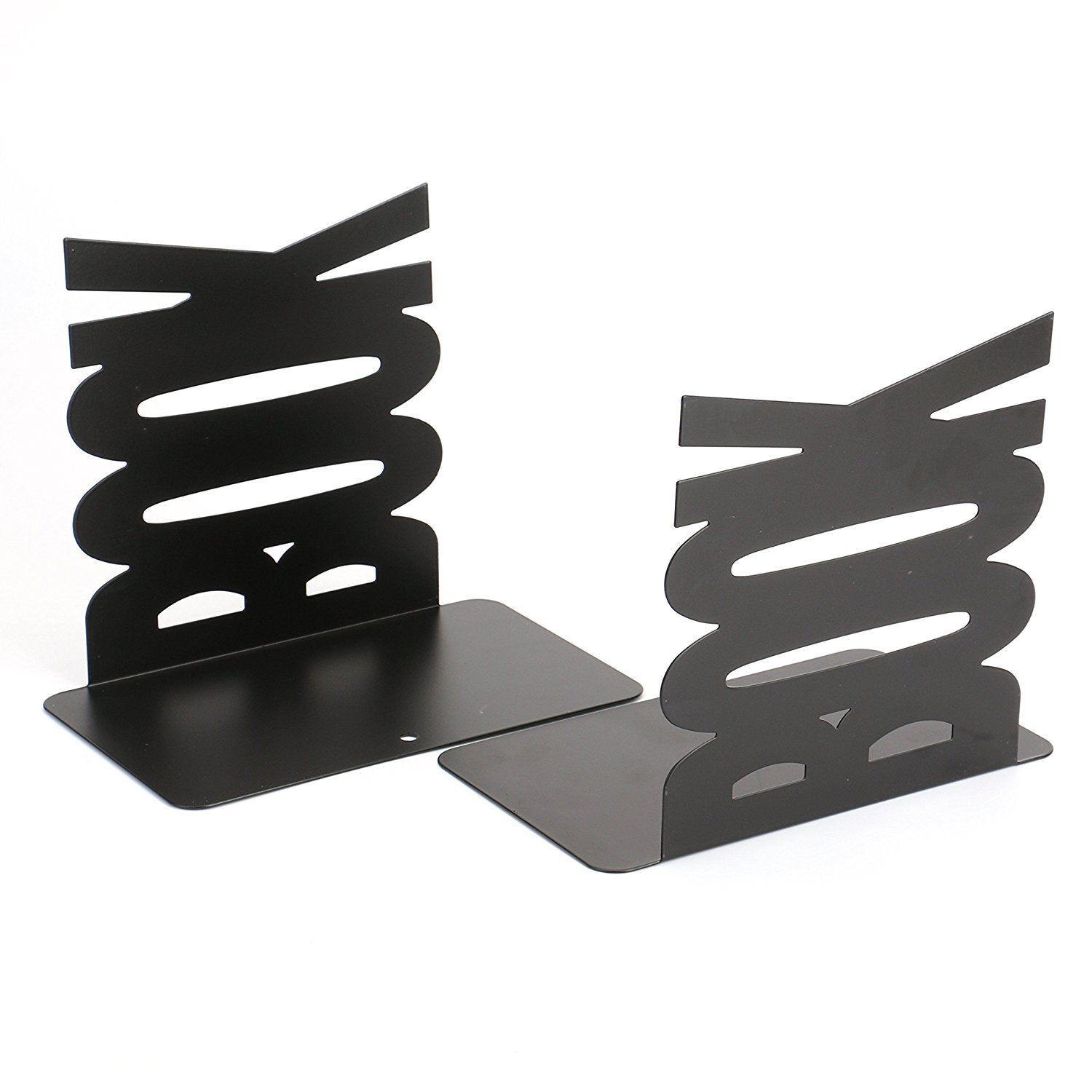 Fasmov Book Bookends Nonskid Art Bookends, 1 Pair(Black) BookBookends-2pcs