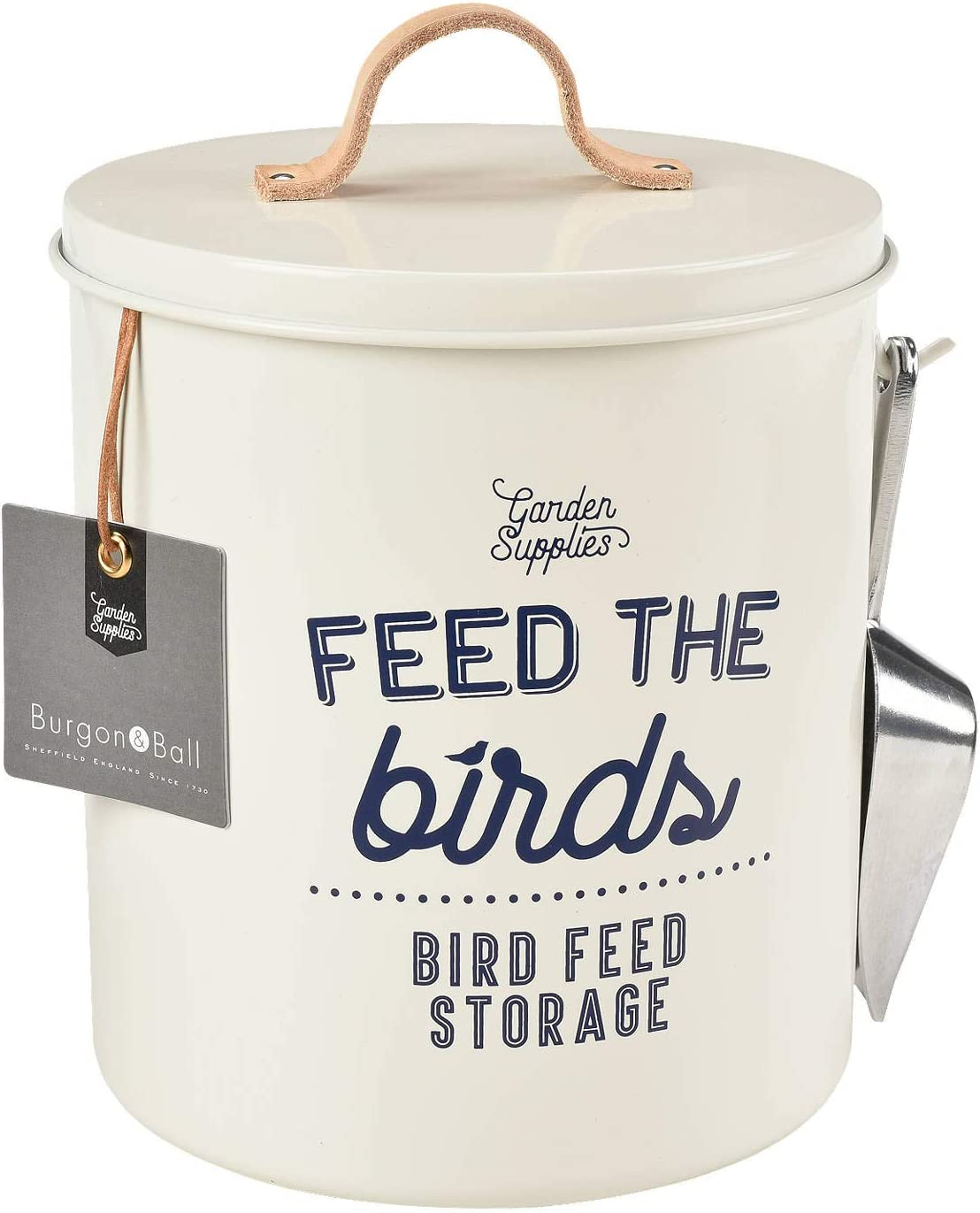 Burgon & Ball Bird Food Storage Tin Stone Cream with Scoop and Leather Handle