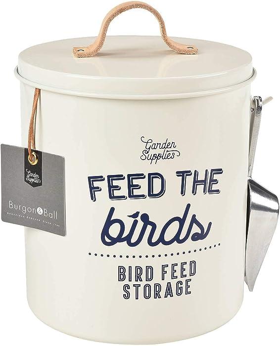 Burgon & Ball Bird Food Storage Tin Stone Cream with Scoop and Leather Handle
