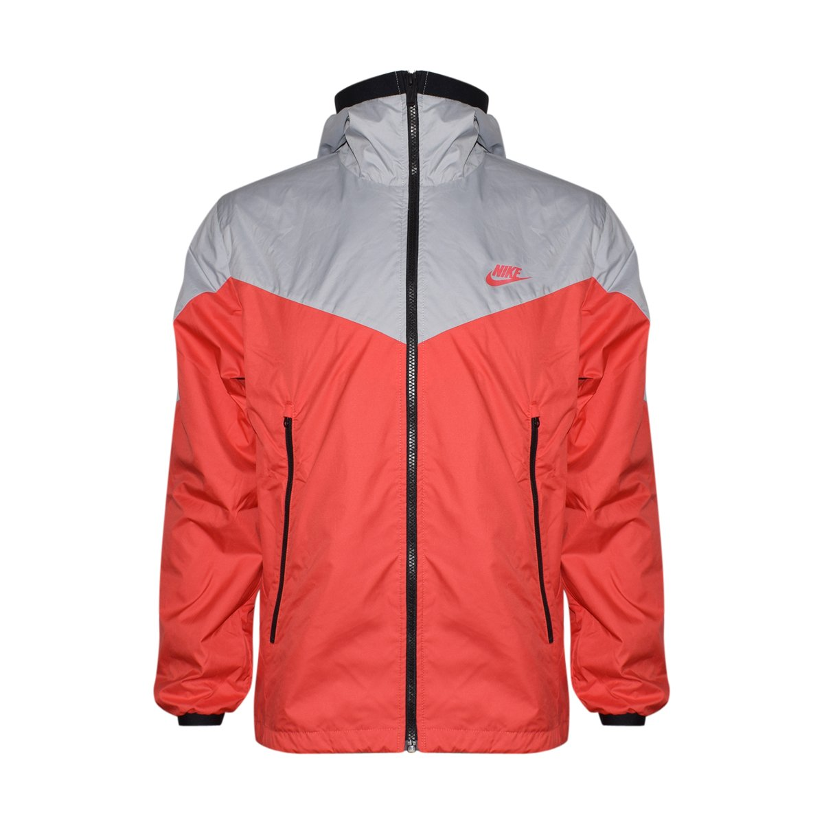 Nike Mens Windrunner Hooded Full Zip Track Jacket (Wolf Grey/Track Red/Grey, X-Large) by Nike