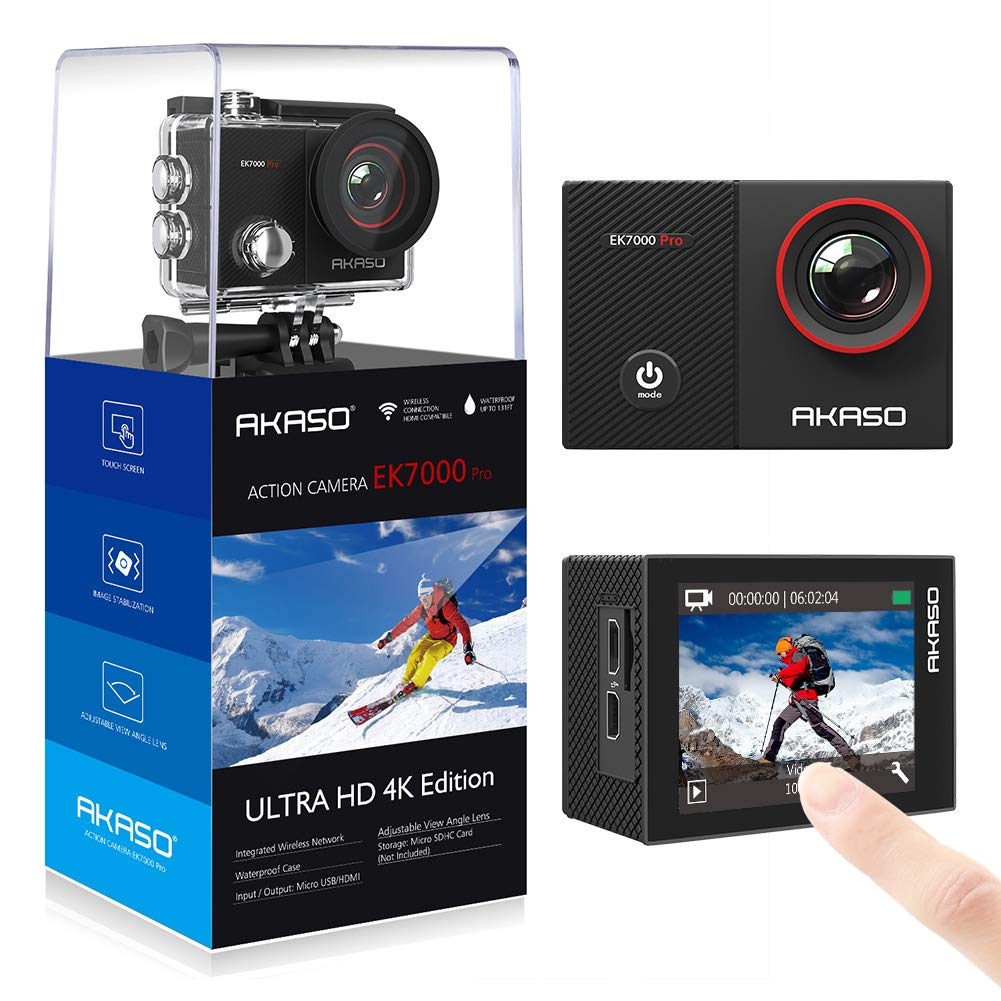 AKASO EK7000 Pro 4K Action Camera with Touch Screen EIS Adjustable View Angle 40m Waterproof Camera Remote Control Sports Camera with Helmet Accessories Kit by AKASO