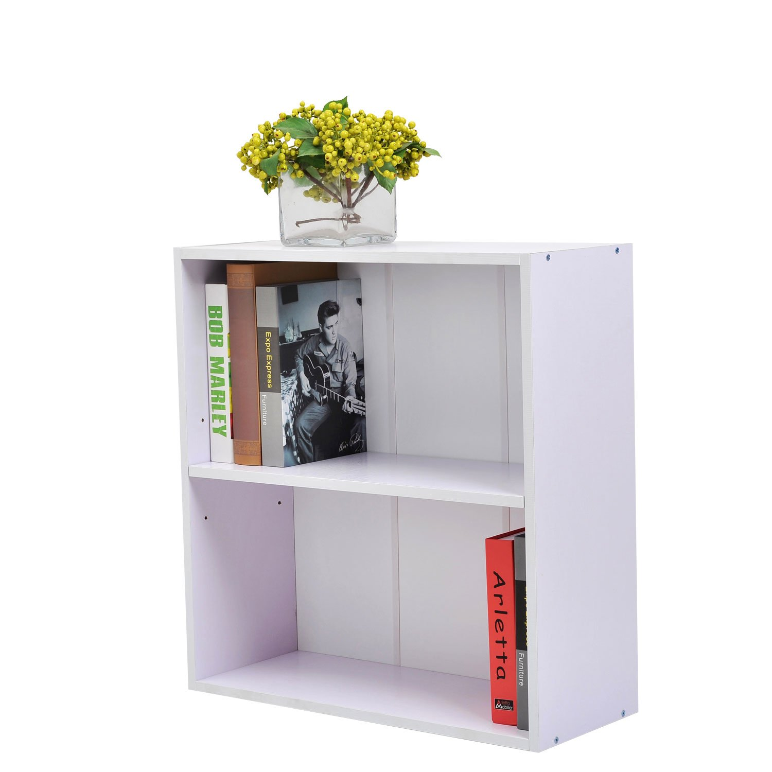 Homcom Wooden Wood 2 Tier Storage Unit Chest Bookshelf Bookcase Cupboard Cabinet Home Office Furniture New (White)