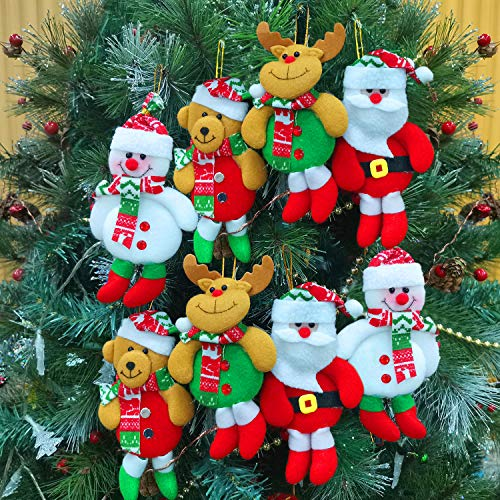 8 Pack Christmas Tree Decorations Ornaments Set,Christmas Tree Pendant Plush Snowman Santa Claus Polar Bear Elk Hanging Christmas Tree Decoration Pendants for Xmas Home Party Holiday Decorative (Christmas Decorations Tree Nice)