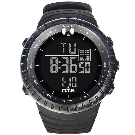 Moda Sport Relojes para Hombre - Correa de Caucho Calendario Luminoso Reloj Digital para Señores Niños, Negro: Amazon.es: Relojes