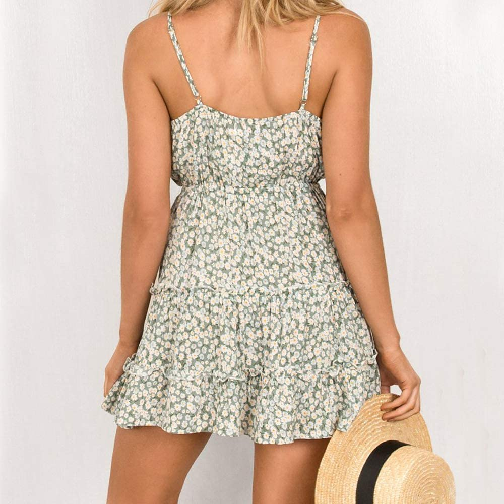 Lazzon Women Sleeveless Dress V Neck Boho Floral Beachwear Adjustable Spaghetti Strappy Mini Swing Tunic Sundress