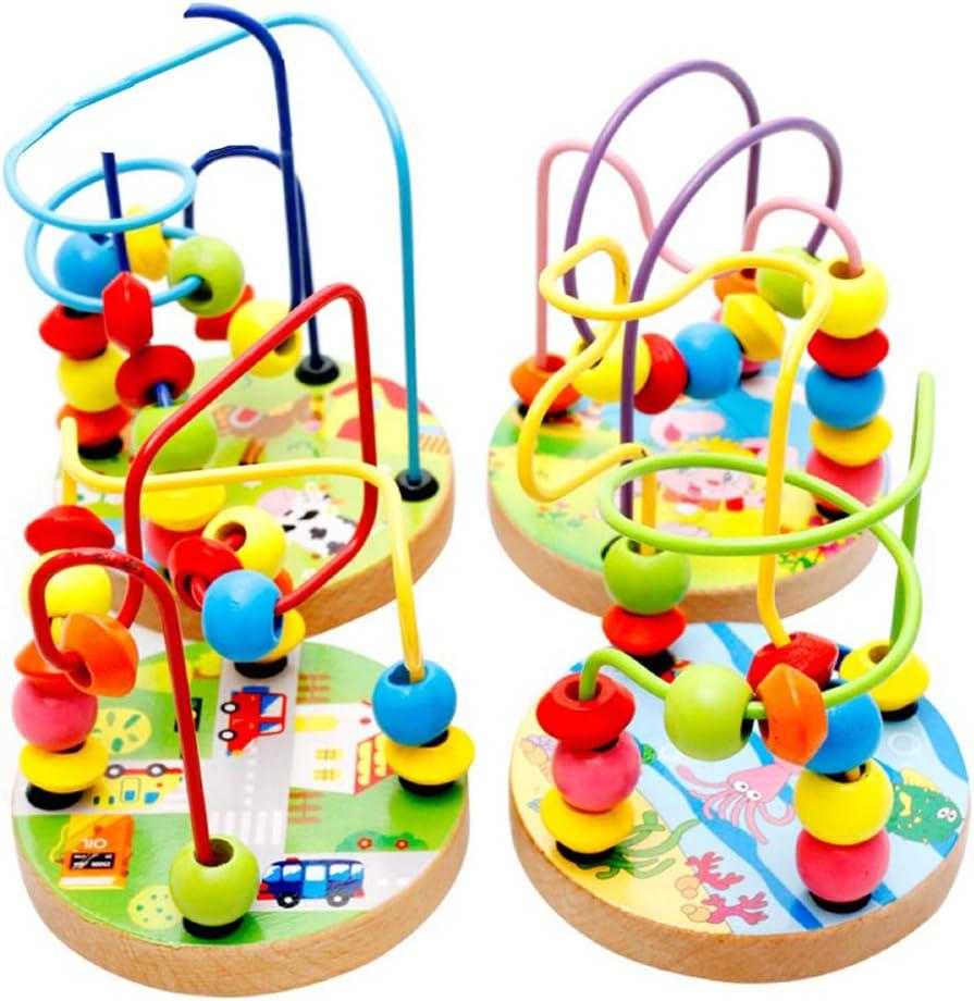 VOSAREA Wooden Bead Maze Roller Coaster Abacus Beads Circle