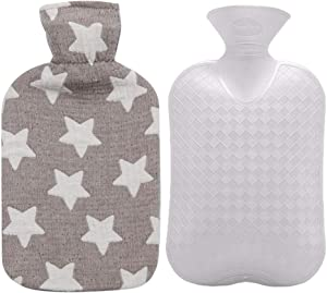 Fashy Hot Water Bottle with Star Pattern Cotton Cover (Brown,67oz)