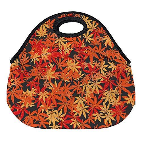 (DKISEE The Japanese Maple Seamless Pattern Large & Thick Neoprene Lunch Bags Insulated Lunch Tote Bags Cooler Warm Warm Pouch for Women Teens Girls Kids Adults )