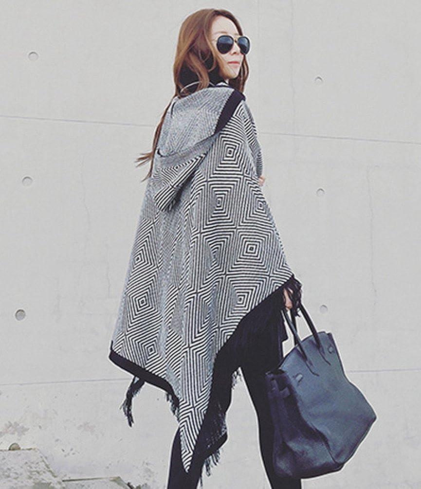 ZKOO Hooded Shawl Womens Tassels Geometric Pattern Open Poncho Oversized Imitation Cashmere Scarves Wraps Cloak Autumn Winter