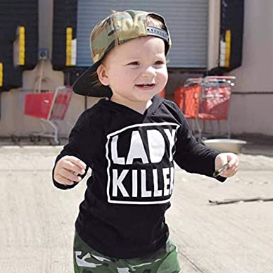 Staron  Toddler Kids Boys Funny Hoodies Sweatshirt Tops+Camouflage Long Pants Outfits
