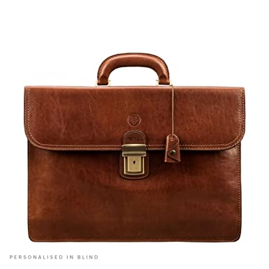 40dacb95f Maxwell Scott Luxury Leather Tan Traditional Briefcase (The Paolo2) - One  Size