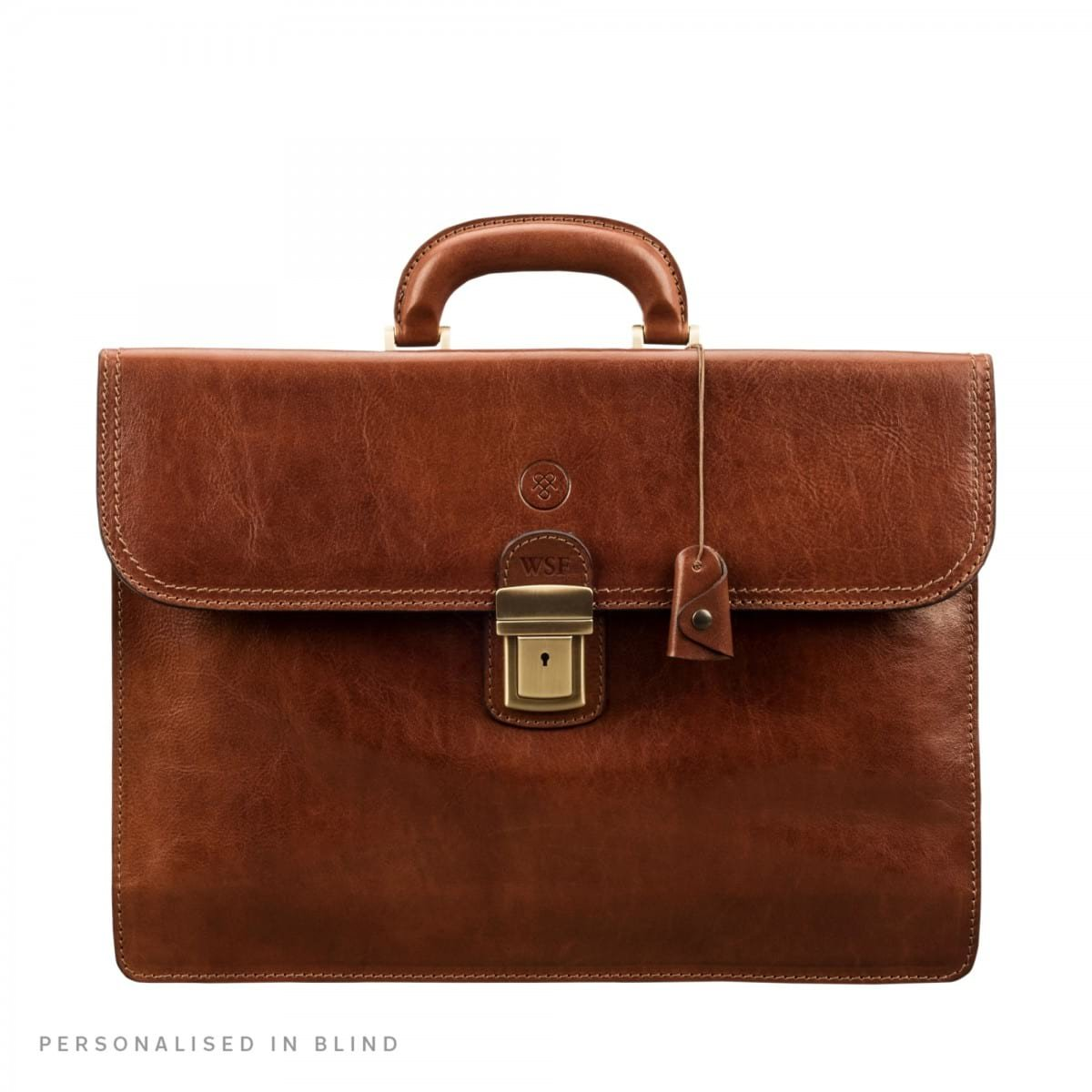 Maxwell Scott Luxury Leather Tan Traditional Briefcase (The Paolo2) - One Size
