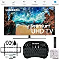 "Samsung 49"" NU8000 Smart 4K UHD TV 2018 Model (UN49NU8000FXZA) with Wall Mount Ultimate Bundle Kit for 32-60 inch TVs, Wireless Backlit Keyboard & SurgePro 6-Outlet Surge Adapter"