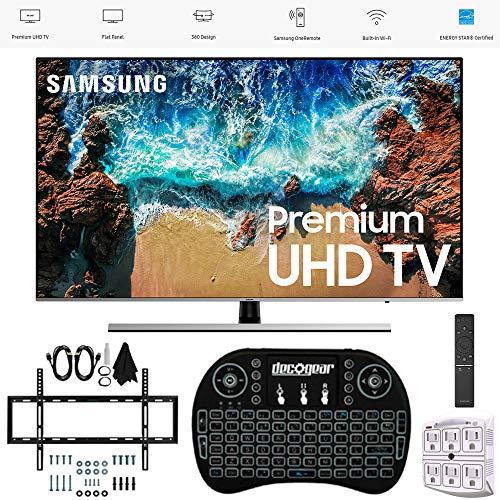 "Samsung 55"" NU8000 Smart 4K UHD TV 2018 Model (UN55NU8000FXZA) with Wall Mount Ultimate Bundle Kit for 32-60 inch TVs, Wireless Backlit Keyboard & SurgePro 6-Outlet Surge Adapter"