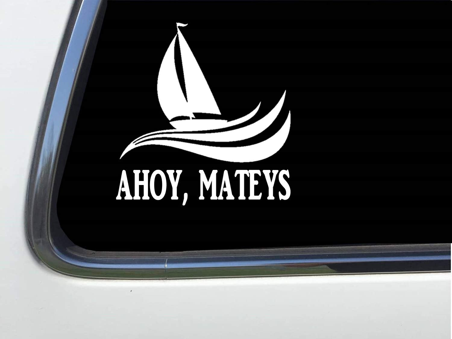 AHOY MATES with sailboat and waves 6 vinyl sticker decal HM1722 Thatlilcabin